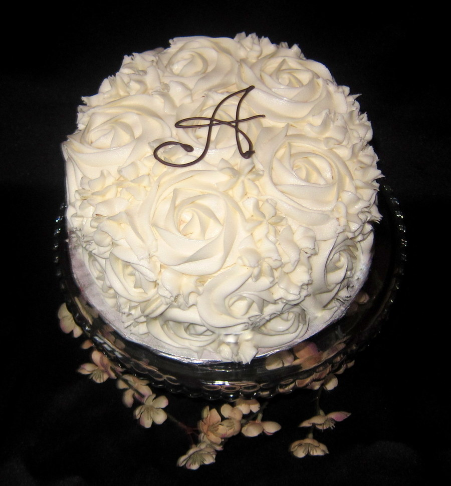 White Cake Raspberry And Cream Cheese Filling With Vanilla Buttercream Piped On Rosettes Monogram A In Chocolate on Cake Central