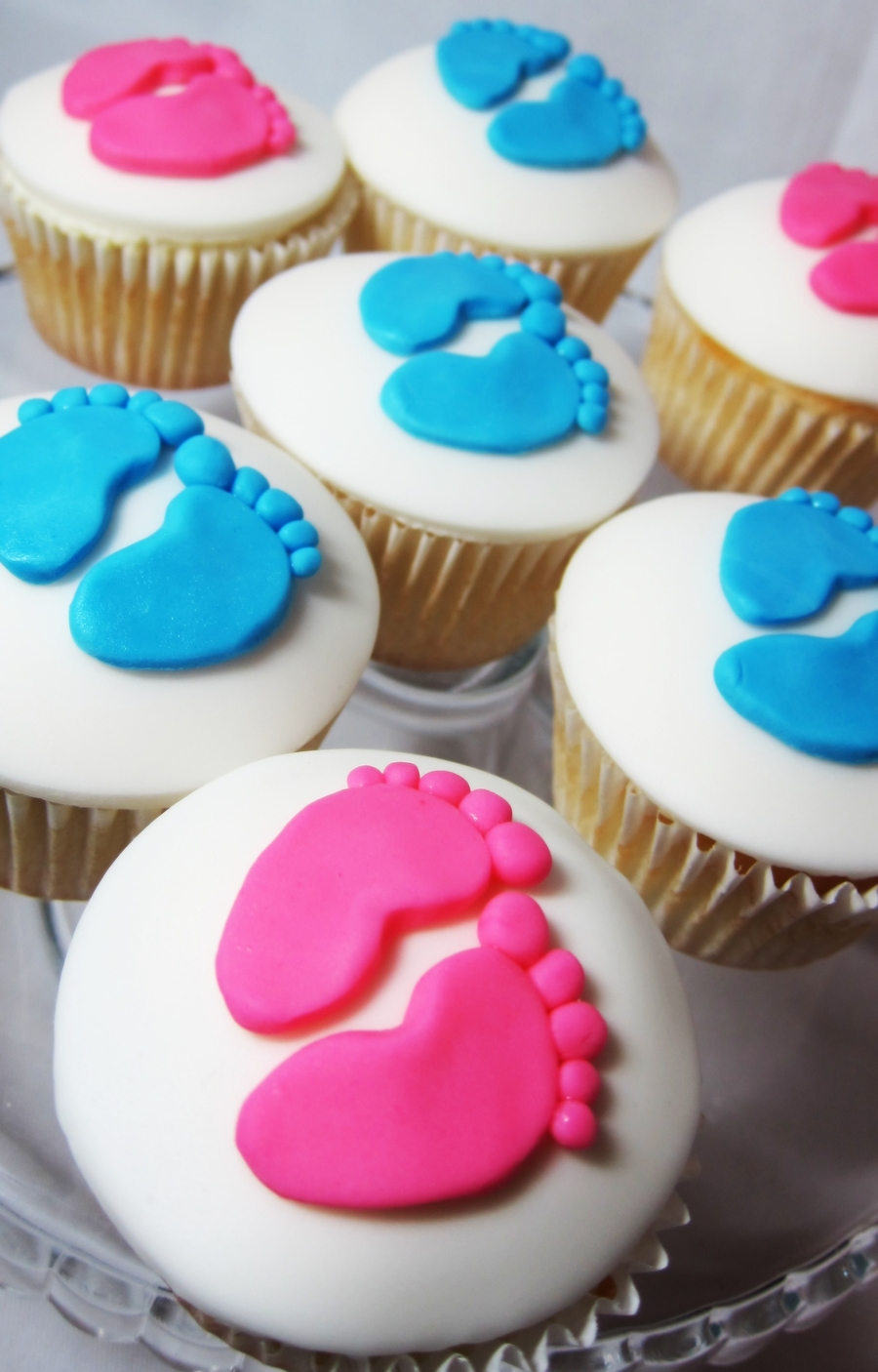 Gender Reveal Party Cupcakes- Precious Little Feet on Cake Central