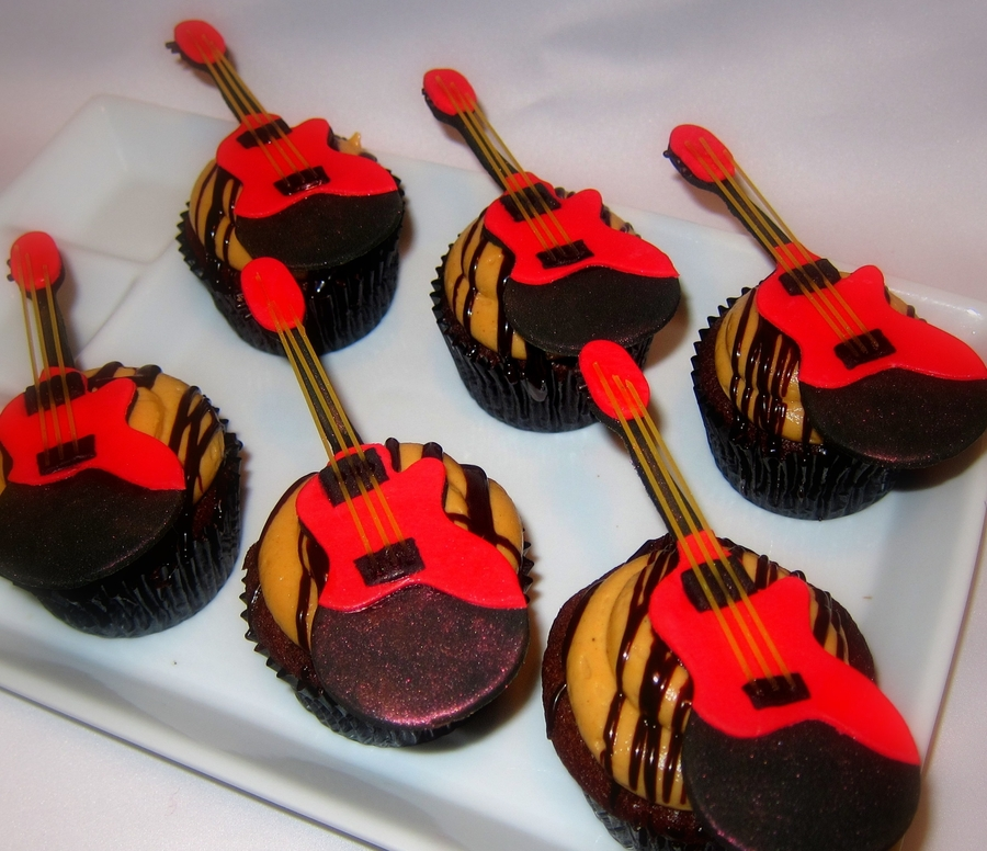 Paleo Cupcakes With Fondant Guitars on Cake Central