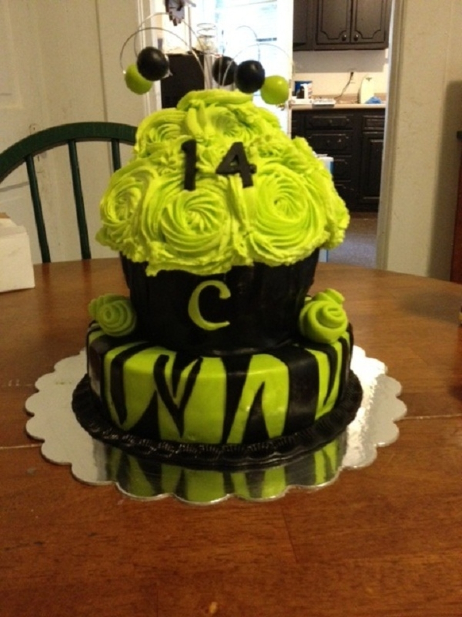 Giant Zebra Cupcake  on Cake Central