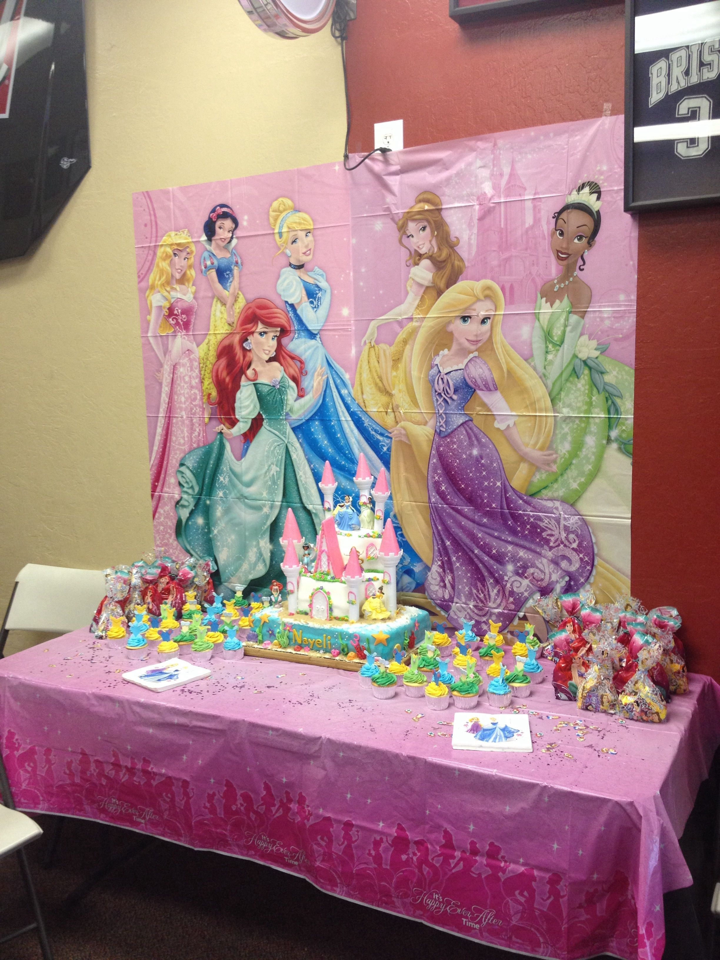 Disney Princess Birthday Cake And Cupcakes I Made For My Daughters 3rd Castle Under The Sea Dress Cupcake Toppers