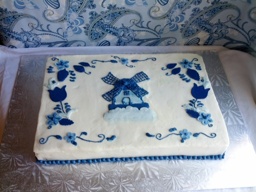 Delft Blue Dutch Themed Cake on Cake Central