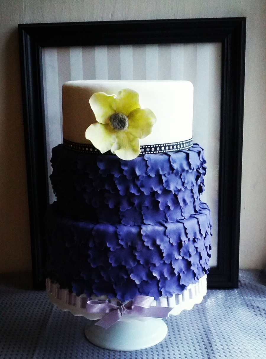 Purple Ruffle Wedding Cake on Cake Central
