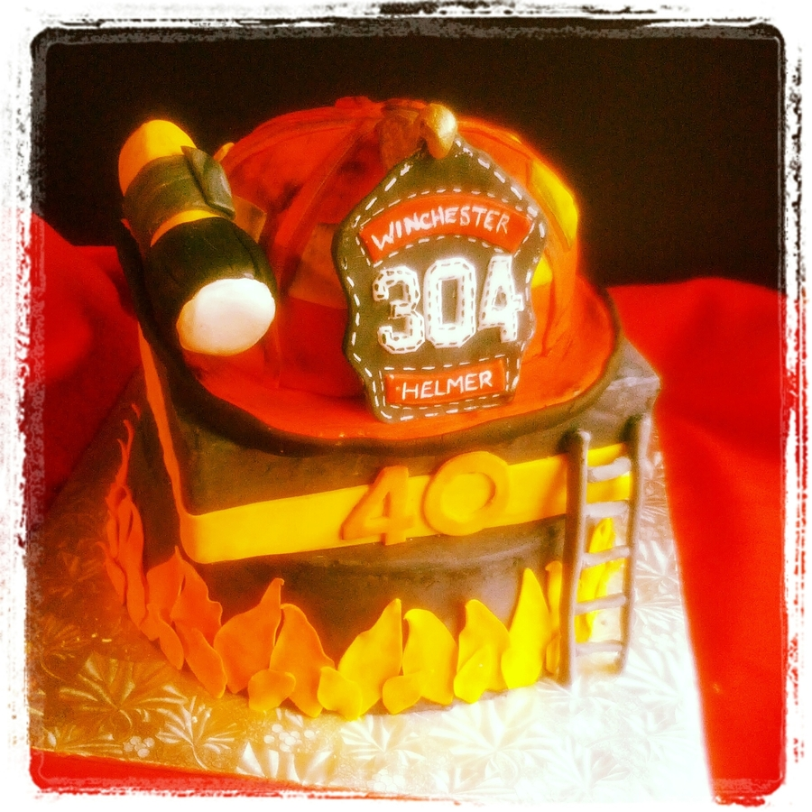 Captains Firefighter Helmet  on Cake Central