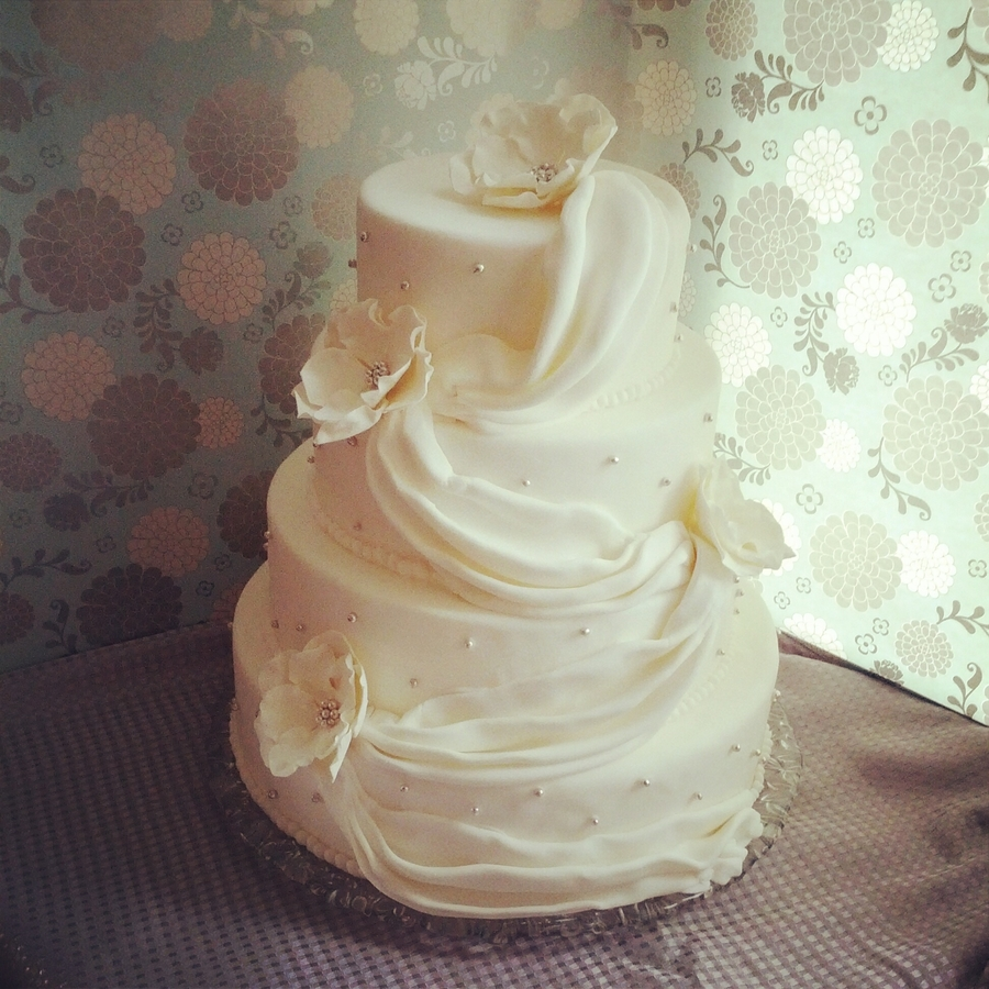 White & Silver Wedding Cake on Cake Central