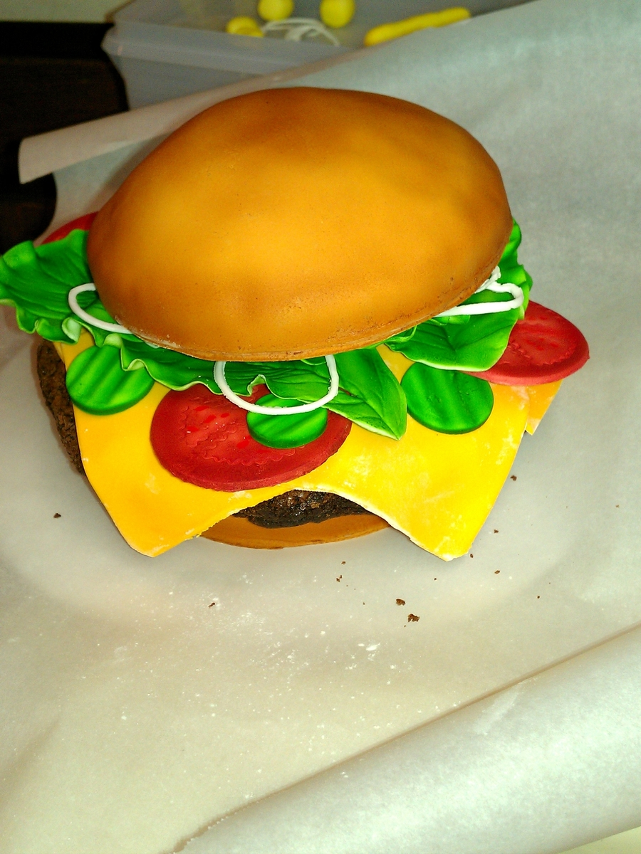 Green Gables Cheeseburger Cake  on Cake Central