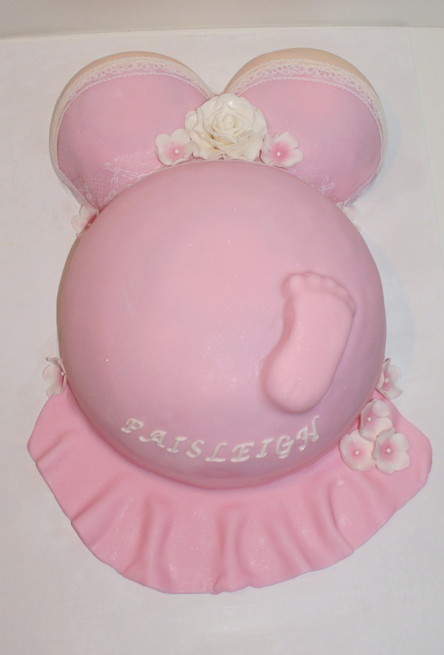 Pregnant Belly Baby Shower Cake on Cake Central