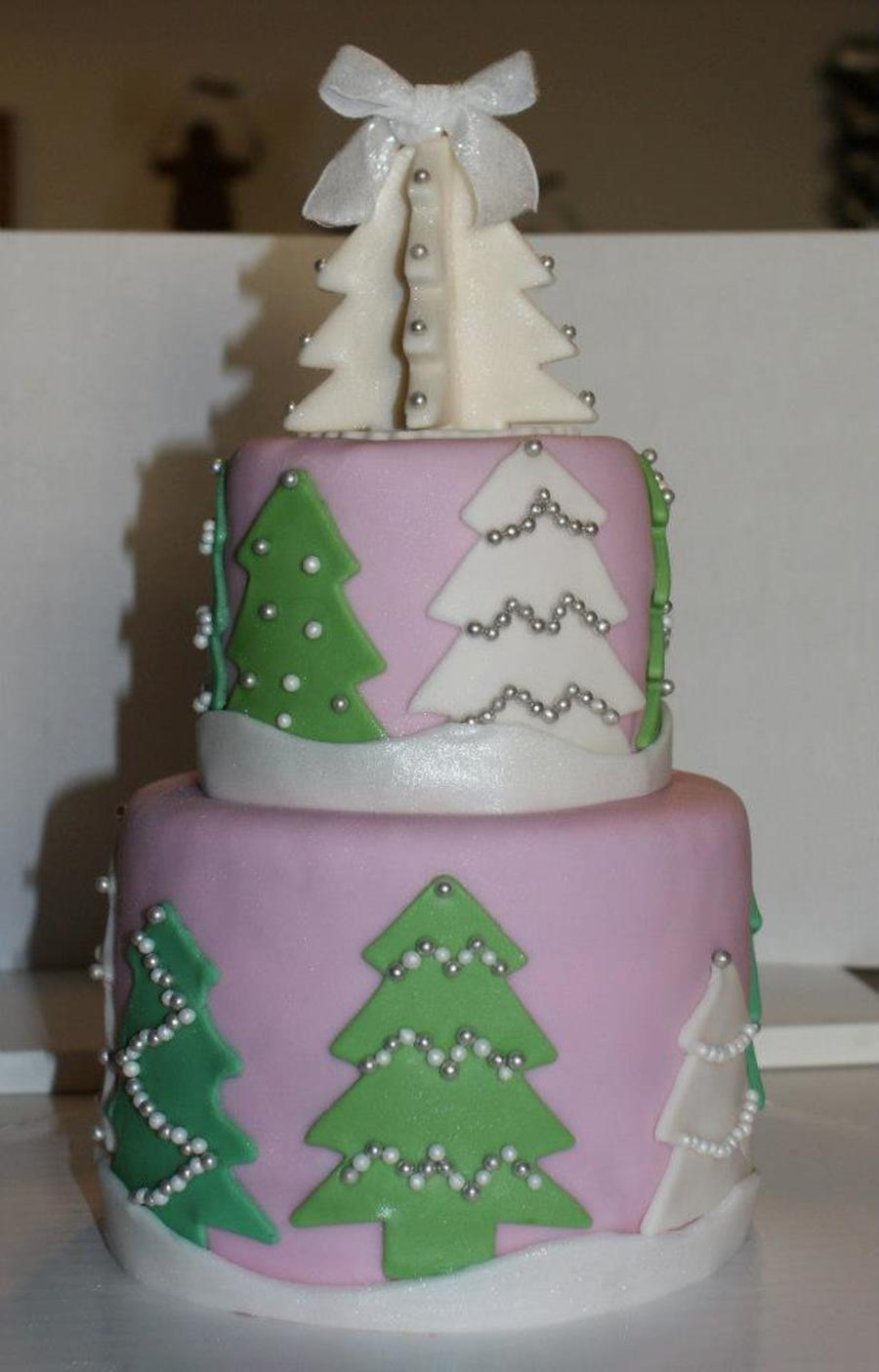 Light Pink Fondant Covered Cake With Fondant Christmas ...