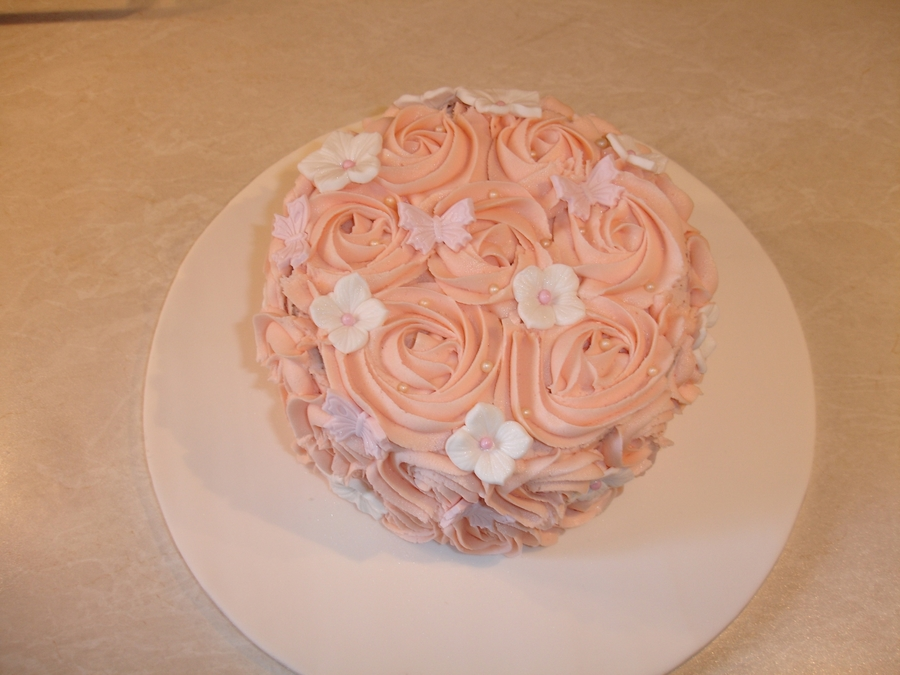 Rose Buttercream Cake  on Cake Central