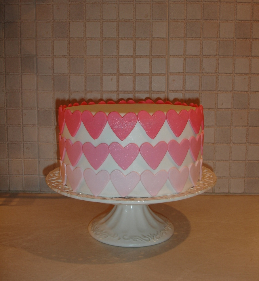 Pink Ombre Hearts Cakejpg on Cake Central