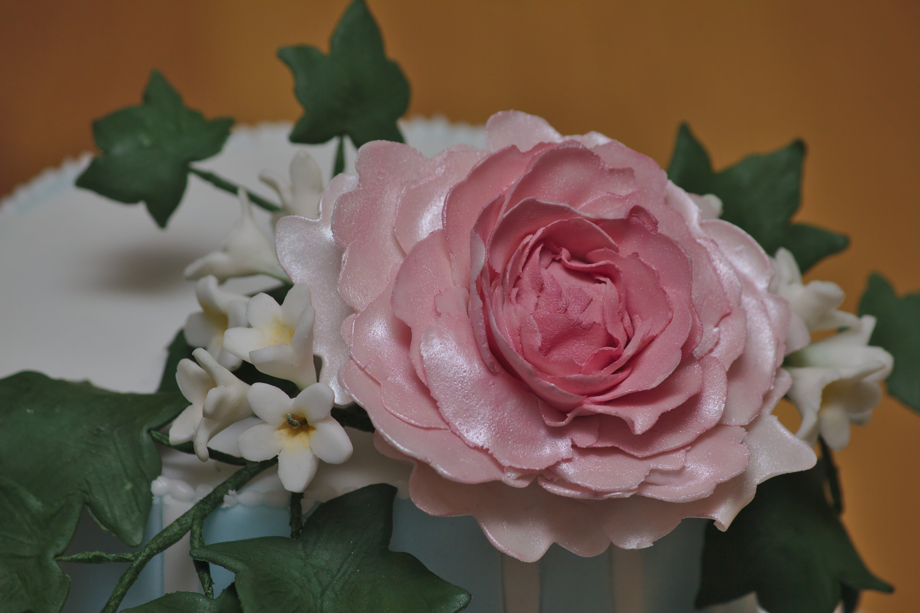 Gumpaste Peony Type Flower With Ivy And Filler Flowers I Attempted