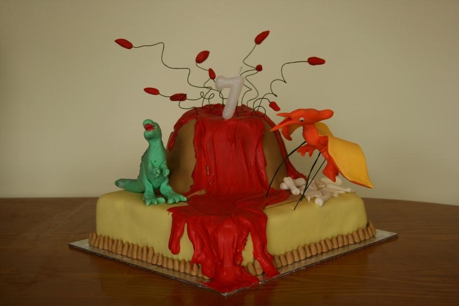 Dinosaur Volcano Birthday Cake Cakecentral