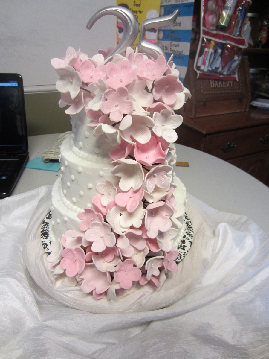 25Th Anniversary Pink Cascade on Cake Central