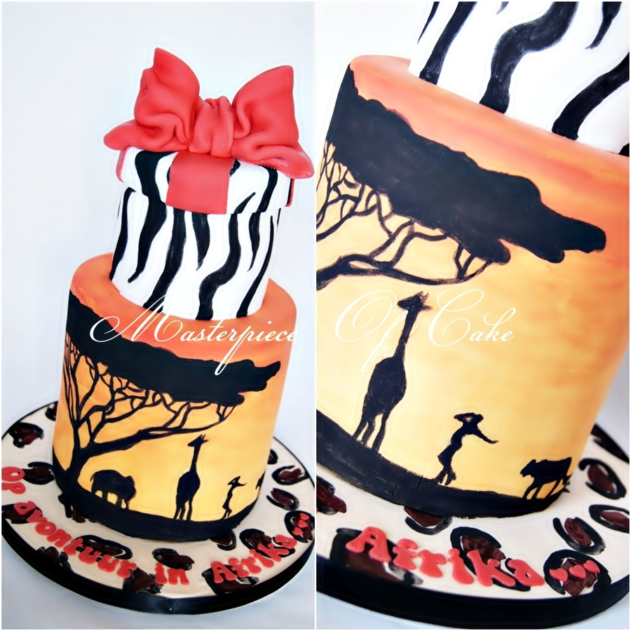Safari Themed Cake All Handpainted Details And Animal Prints Added A Model Posing Next To The Giraffe And Lion To Give It A Personal Touch... on Cake Central