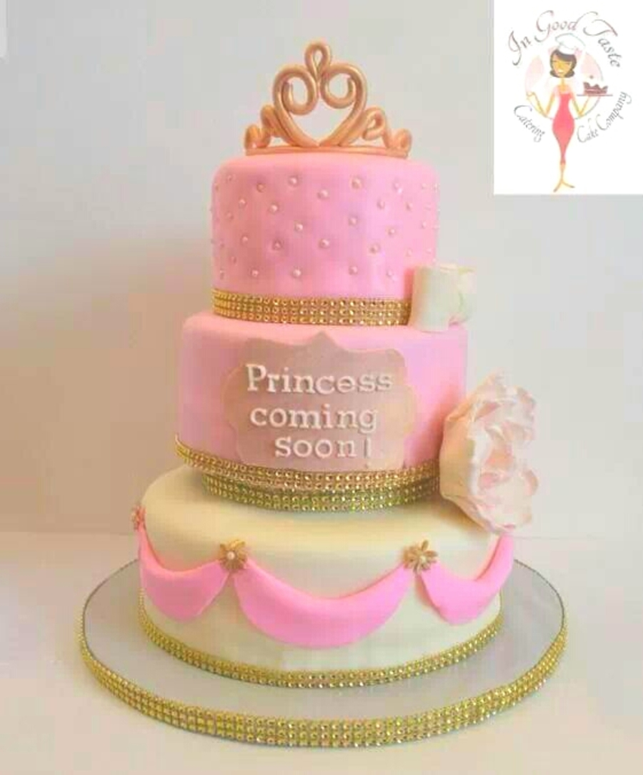 Beautiful Princess Baby Shower Cake Vanilla And Strawberry Cakes With Butter Cream  Icing Covered In Fondant Modeling