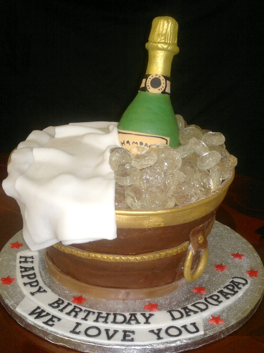Images Of Birthday Cake And Champagne : Champagne Bottle In An Ice Bucket - CakeCentral.com