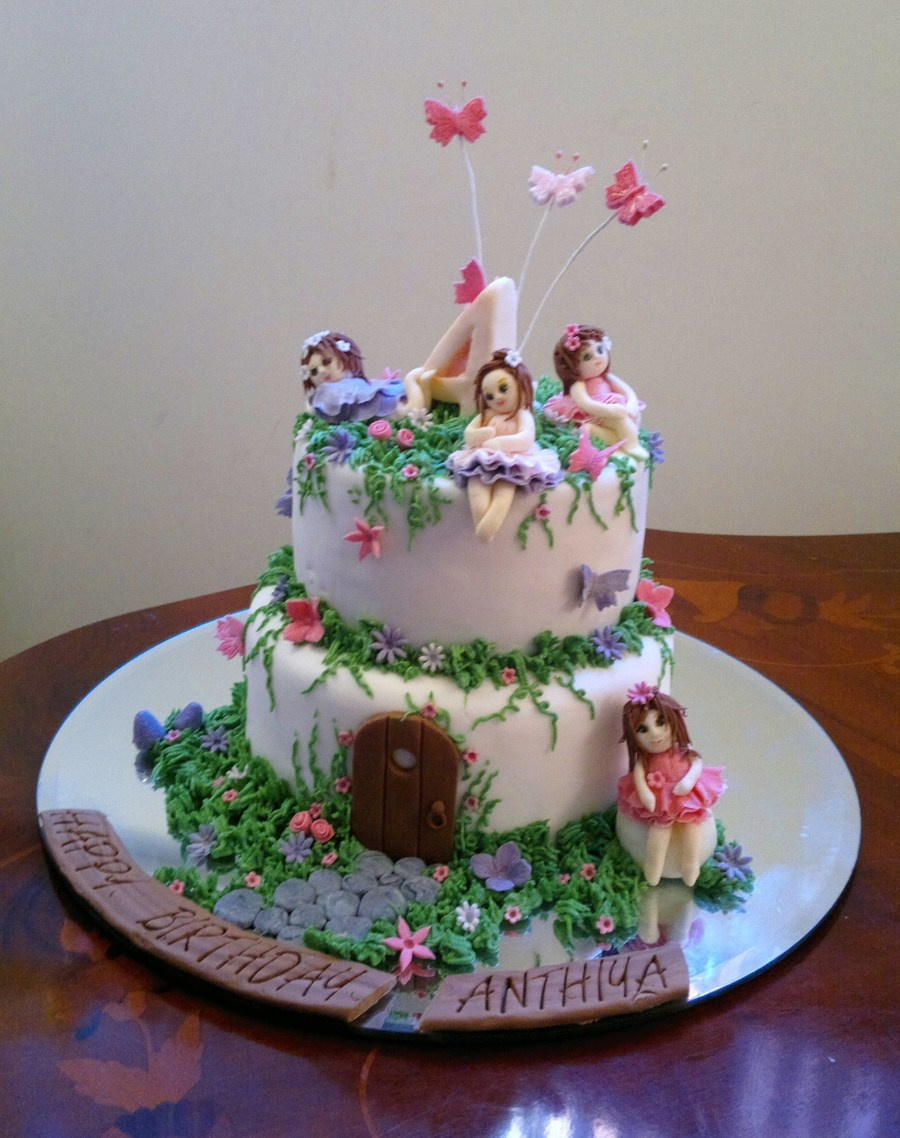 Fairy garden cake with hand made gum paste fairies for In the night garden cakes designs