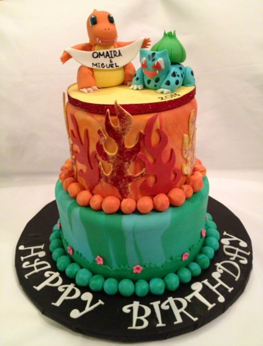 Pokemon Birthday Cakearmander And Baulbasaur Cakecentral