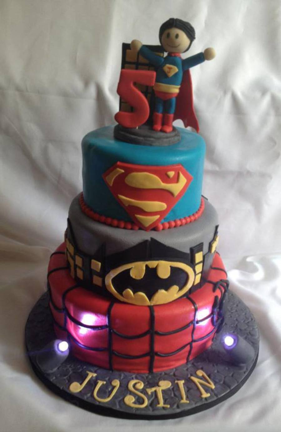 Super Hero Birthday Cake Super Man Batman And Spider Man All Hand