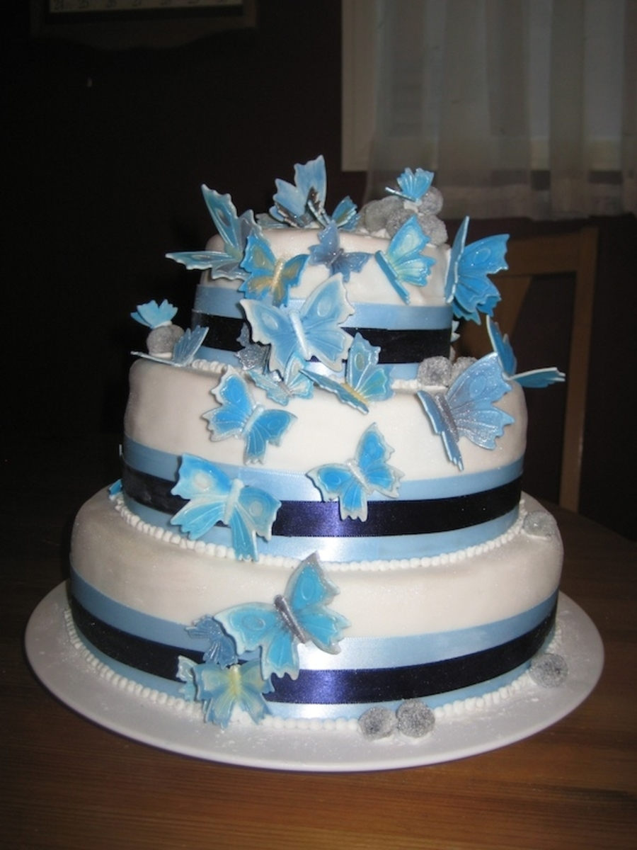 Blue Butterflies Wedding Cake  on Cake Central