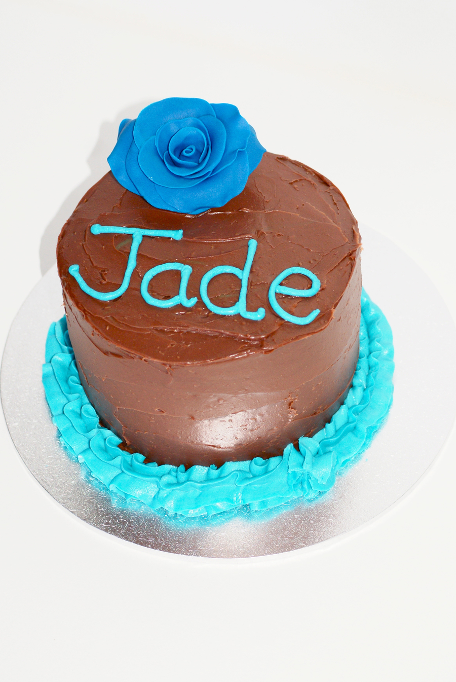 My Niece Requested Simple Chocolate With Blue This Is A Milk Choc Mud With Choc Ganache on Cake Central