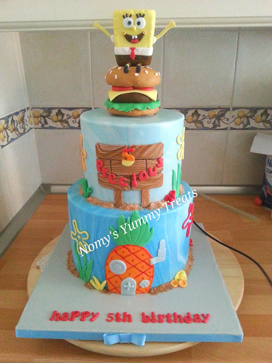 A Spongebob Cake I Made For A Little Boys 5Th Birthday Spongebob And Krabby Patty Was Molded From Rkt on Cake Central