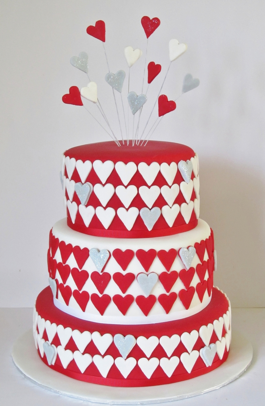 Red And White Engagement Cake on Cake Central