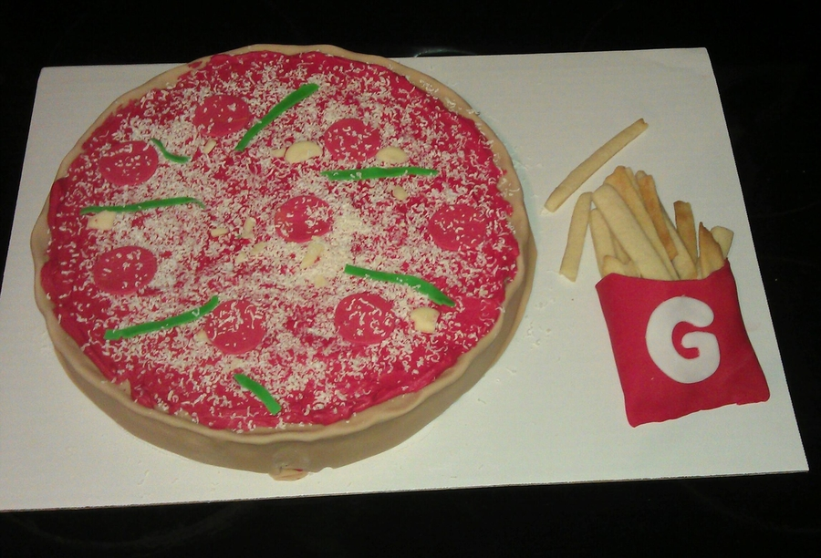 Pizza And Fries on Cake Central