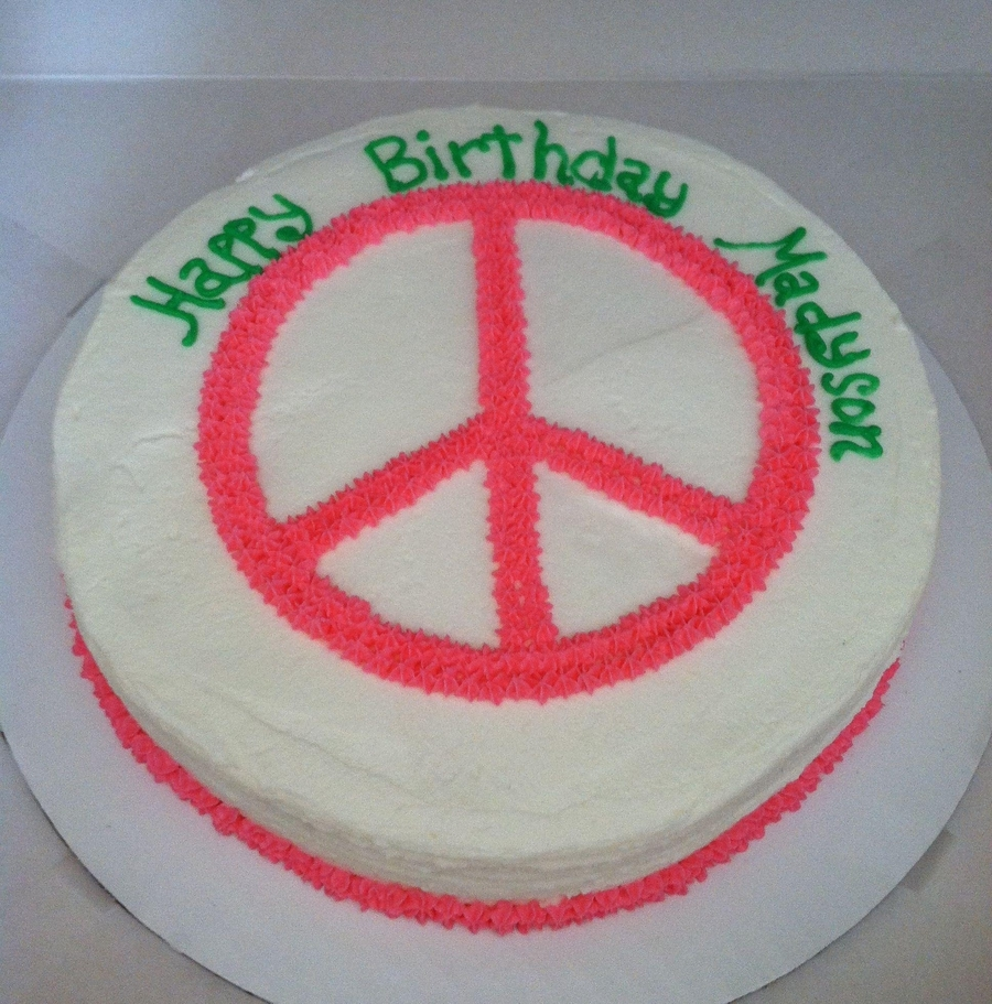 Peace Sign Cake on Cake Central
