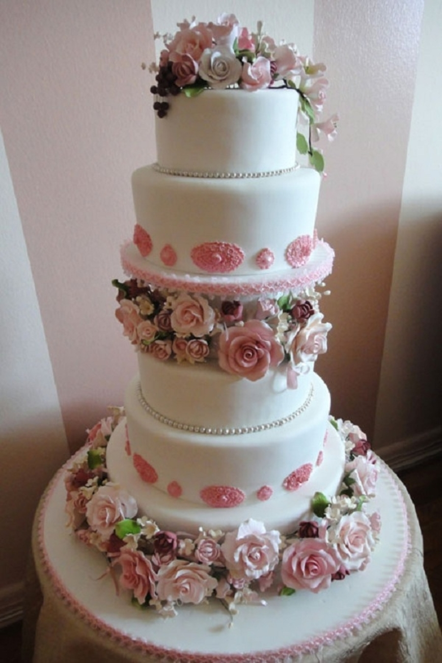 Pink And White Rose Round Wedding Cake on Cake Central