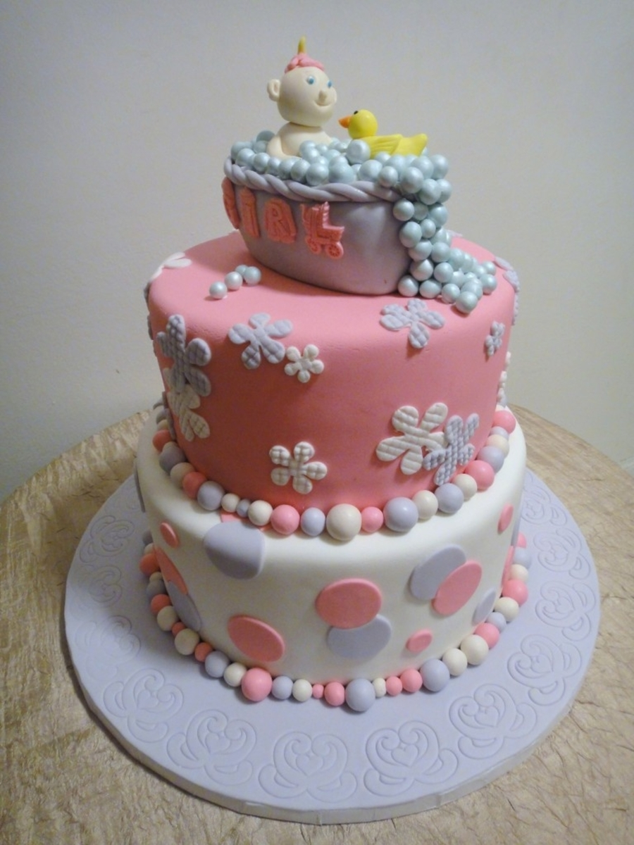 Baby Shower Cakes Brooklyn - Pink And White on Cake Central