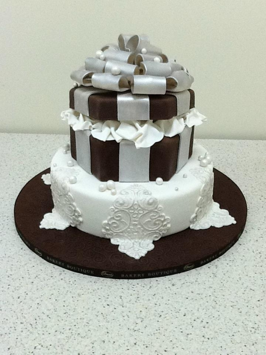 Chocolate And Silver Themed Birthday Cake on Cake Central