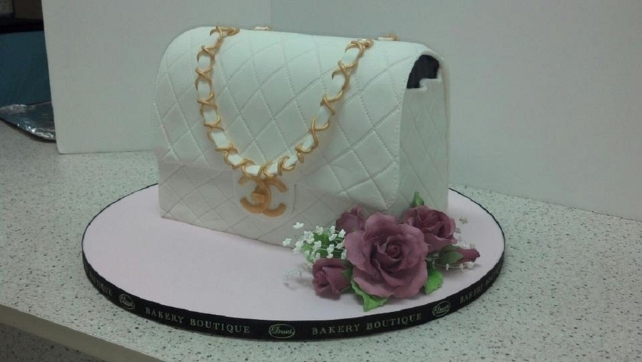 White Chanel Purse Cake For Her on Cake Central