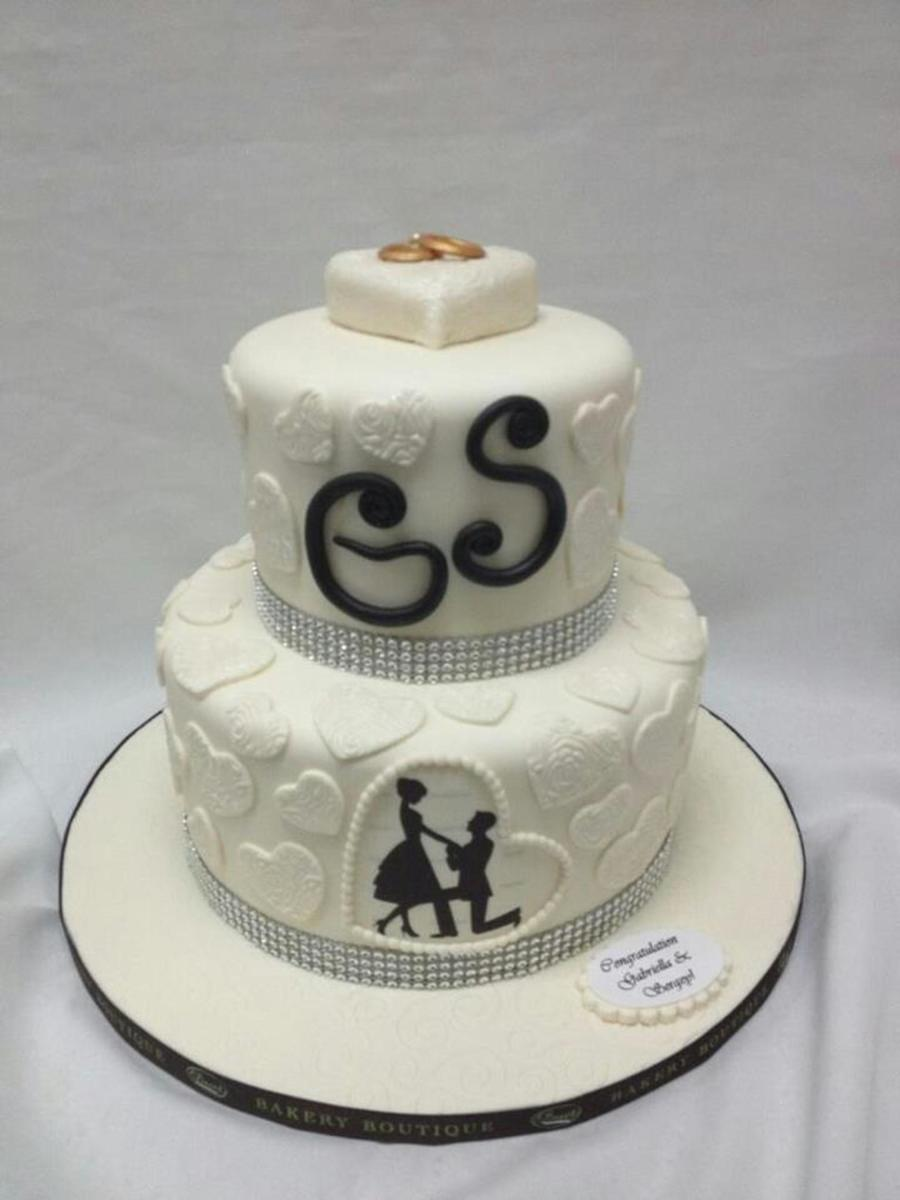 White Two Tier Engagement Cake Cakecentral Com