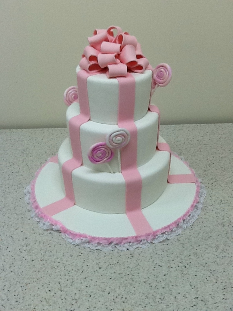 Wedding Cake Brooklyn - Pink And White Cake on Cake Central