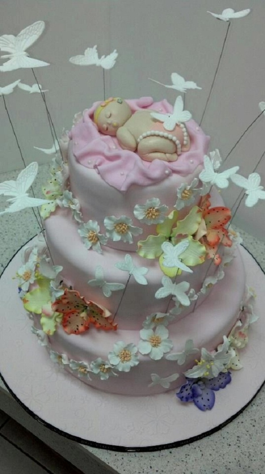 Custom Baby With Butterflies Cake on Cake Central