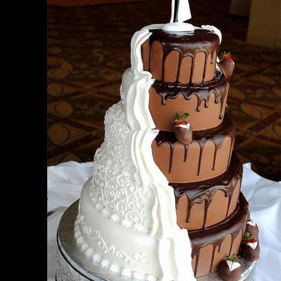 Elegant Chocolate Wedding Cake in milk and white chocolate