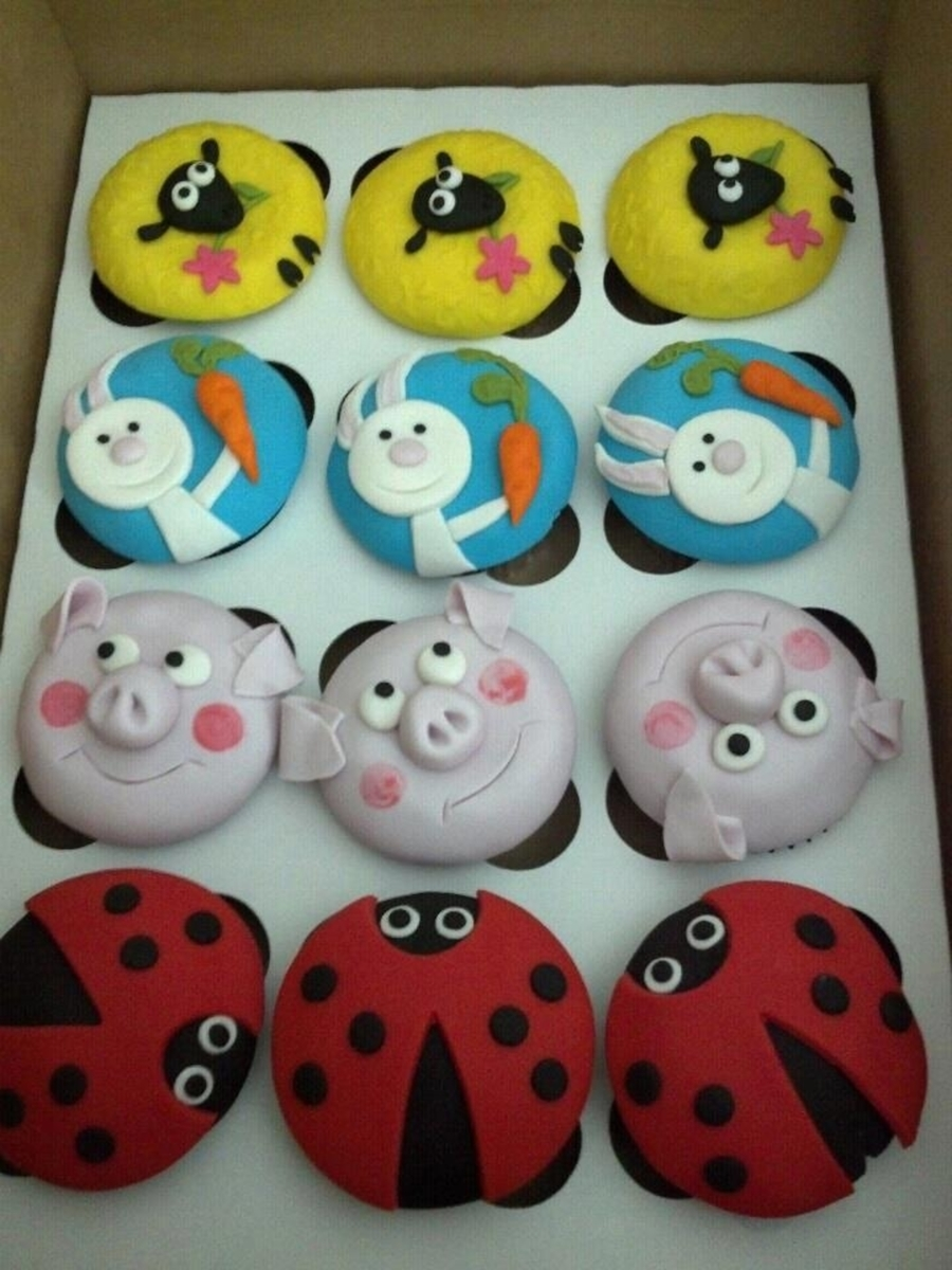 Rabbit Ladybug Pig Cupcakes on Cake Central