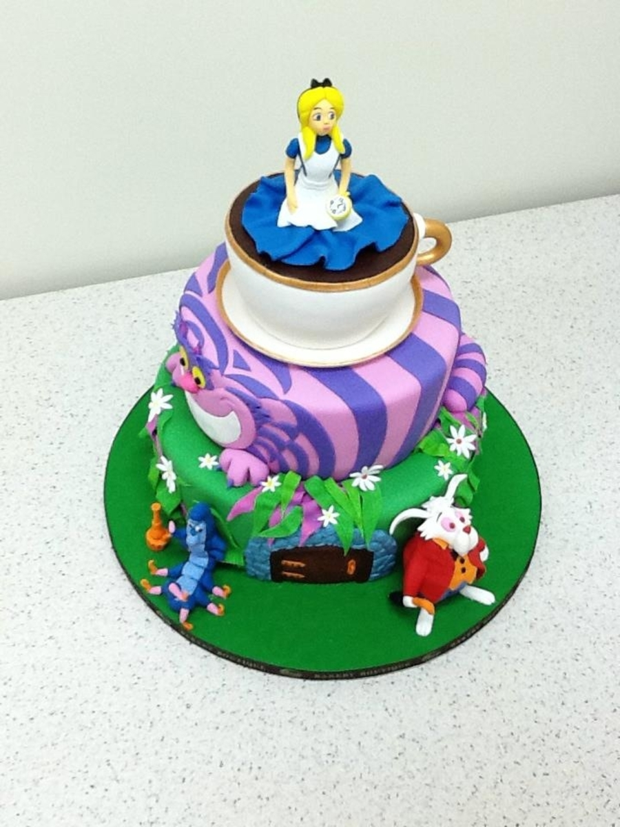 Alice In Wonderland Custom Birthday Cake on Cake Central