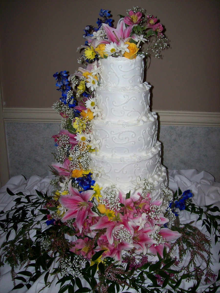 5 Tier Wedding Cake With Live Flowers on Cake Central