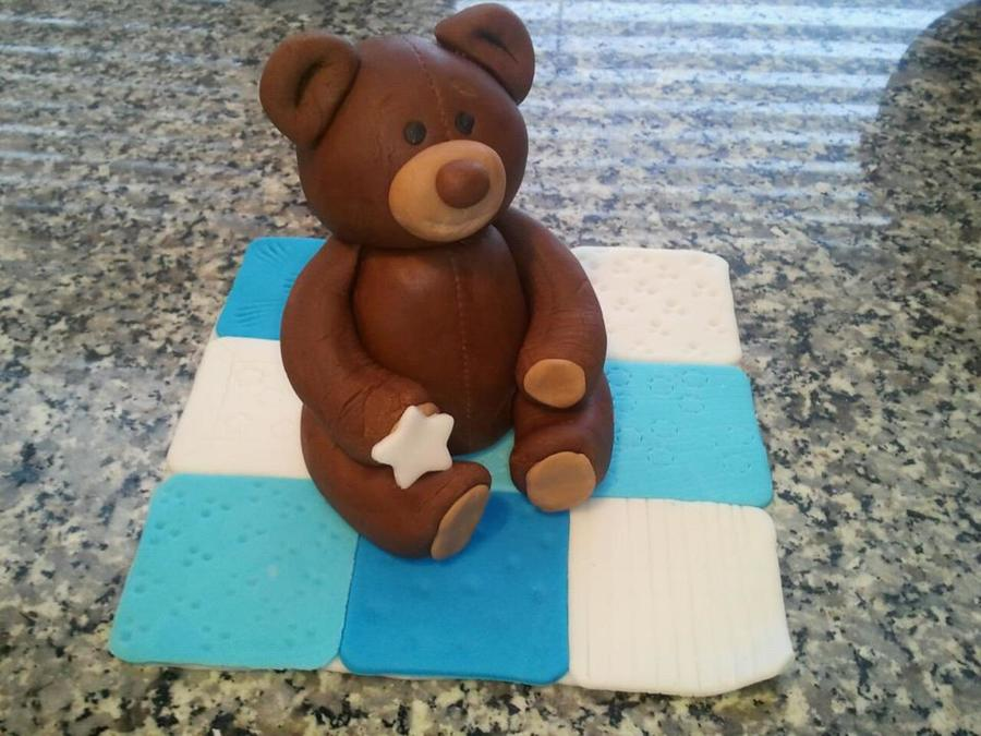 Fondant Teddy Bear On A Quilt  on Cake Central