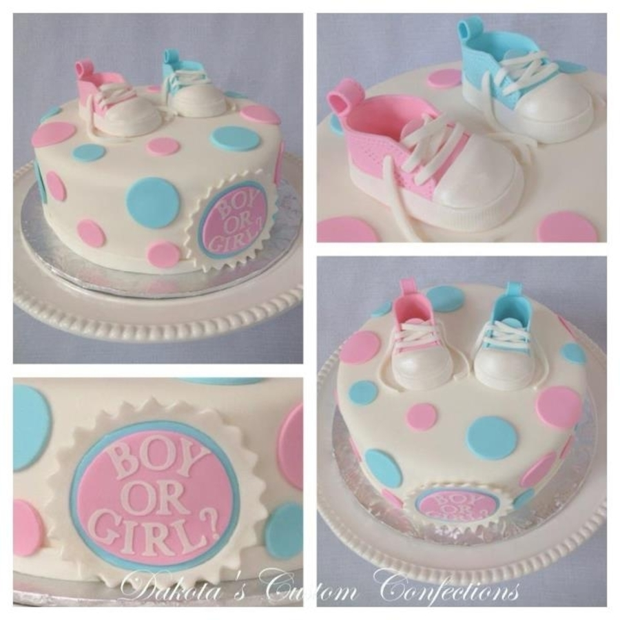 Pink And Blue Baby Shoes Gender Reveal Cake on Cake Central