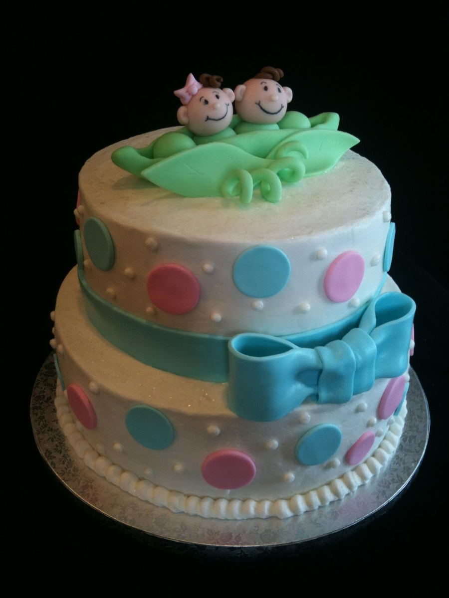Twin Peas In A Pod Baby Shower Cake on Cake Central