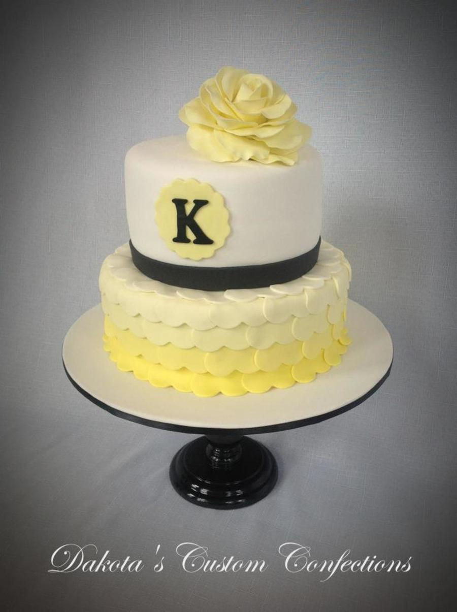 Yellow Heart Ombre Cake With Fondant Rose Cakecentral Com