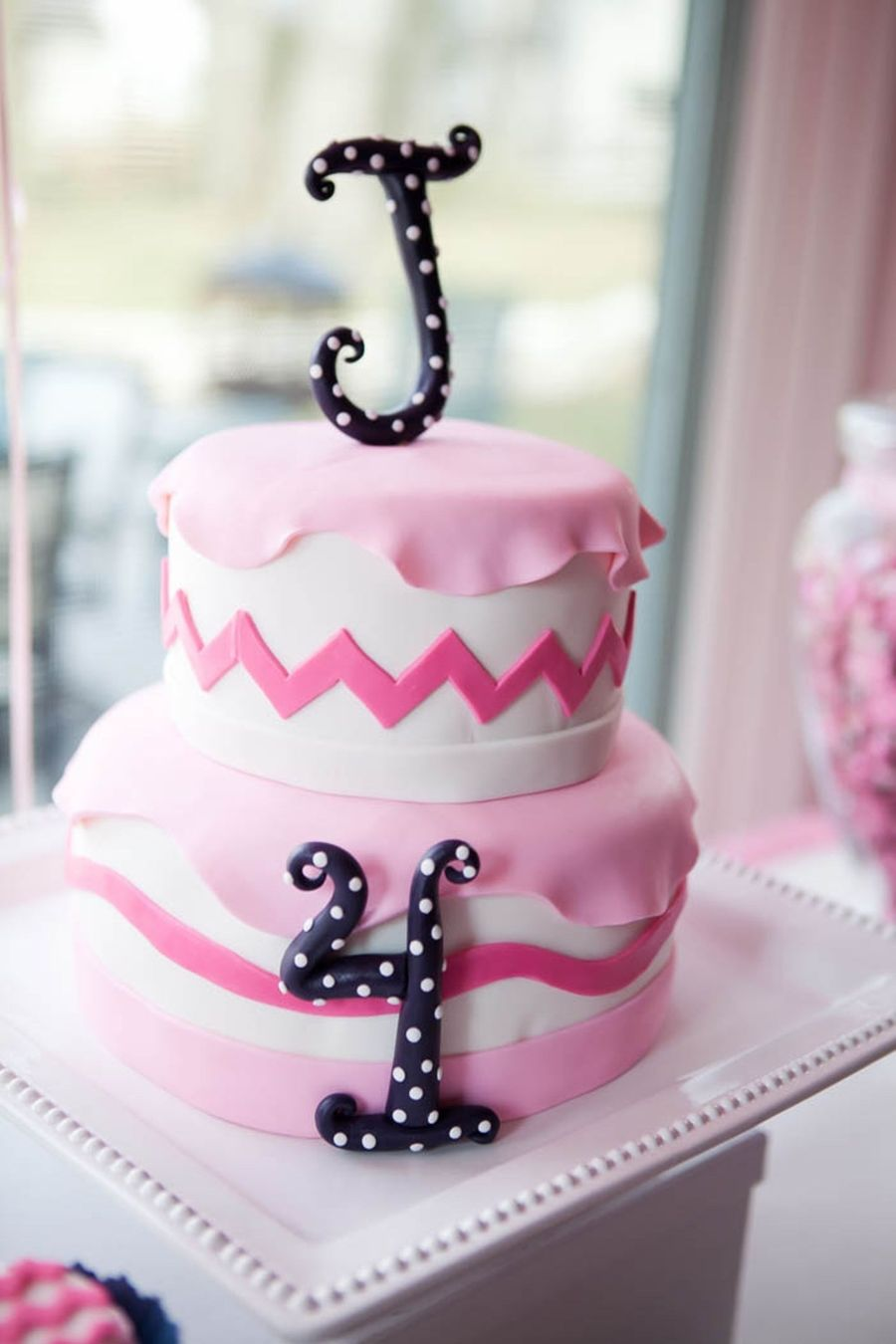 Pretty In Pink Chevron Birthday Cake Cakecentral