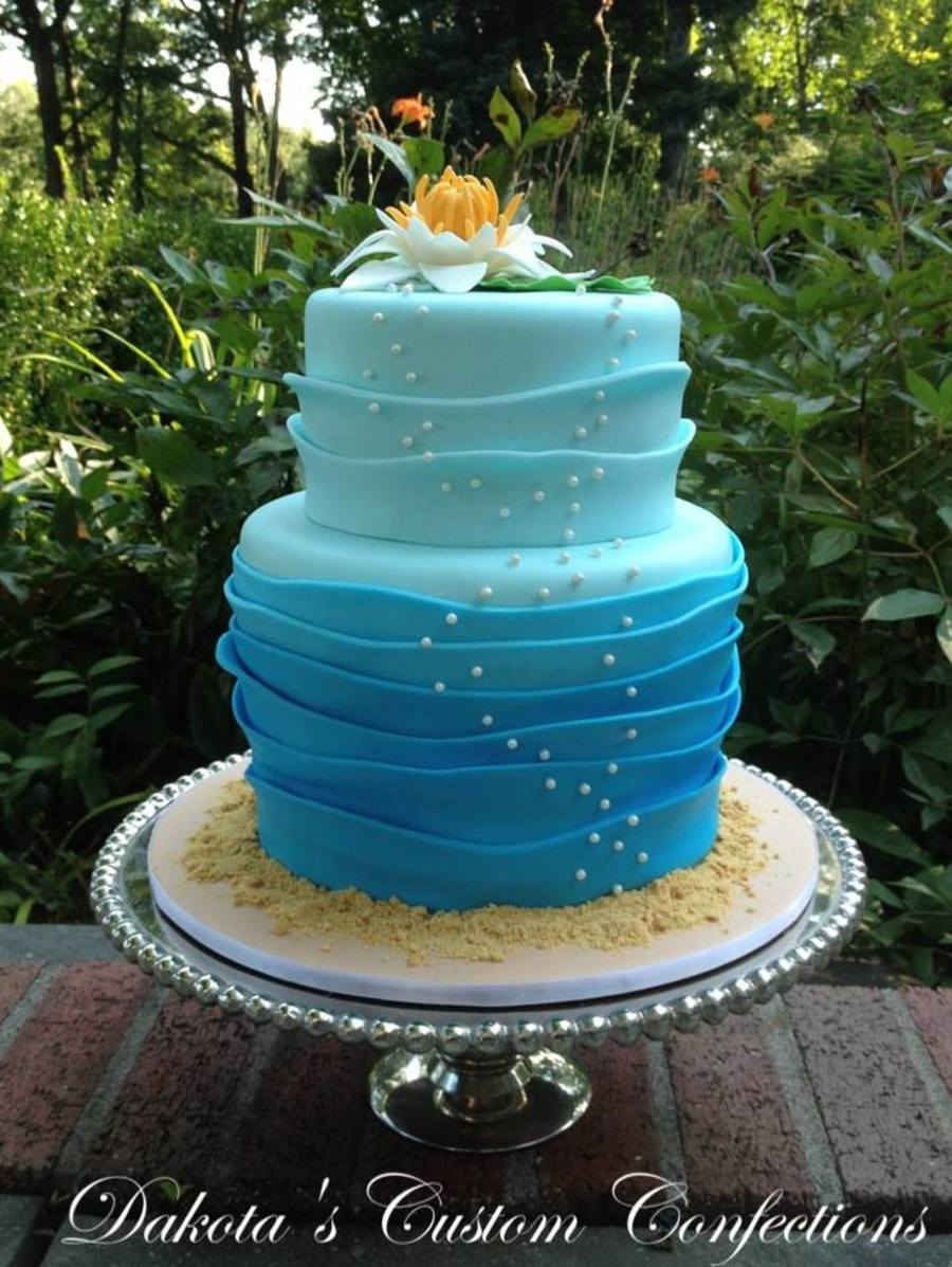 Water Lily Wave Ombre Birthday Cake Cakecentral Com