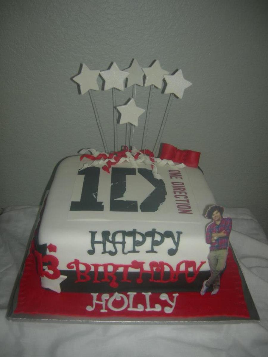 One Direction Theme Cake Friend Showed Me A Pic Of A Cake She Originally Wanted Duplicated From A Location I Believe She Said In The Uksor... on Cake Central