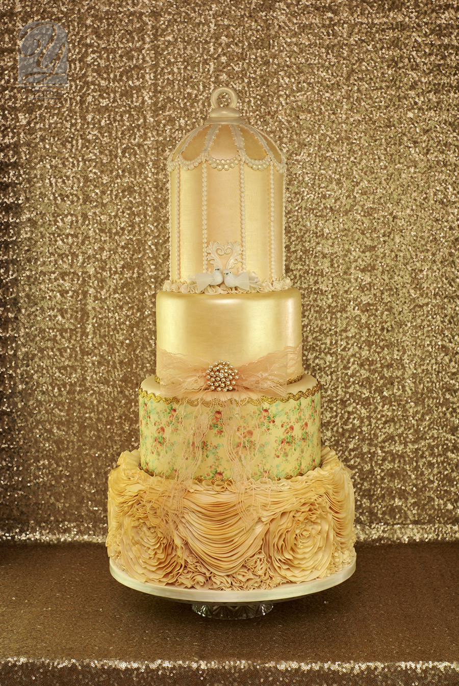 2015 design champaign birdcage wedding cake on cake central