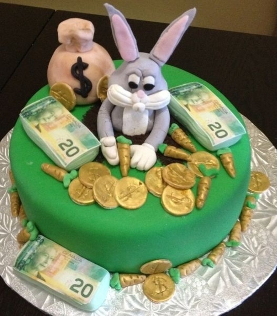 Handmade Bugs Bunny Out Of Gumpaste As Well As The Carrots Money Bag