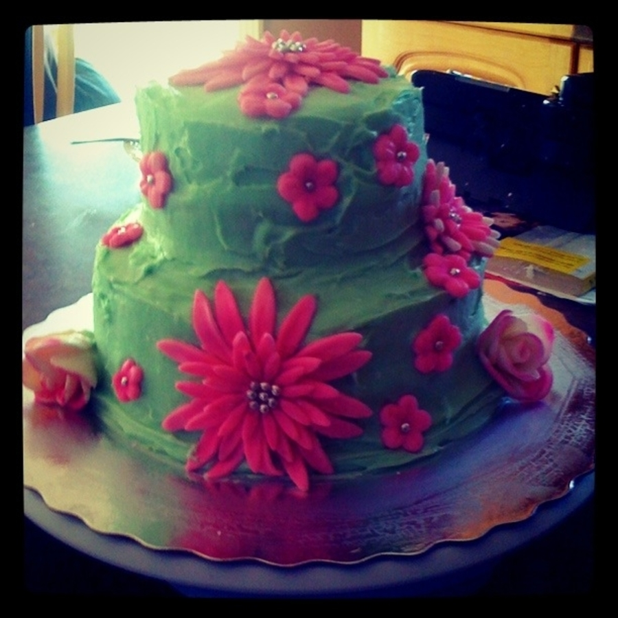 Pink / Green Cake on Cake Central